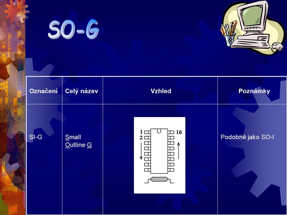Označení Celý název Vzhled Poznámky So-I Small Outline I Používané pro integrované obvody s vyšší integrací a vyšším počtem vývodů než SIP nebo DIP in