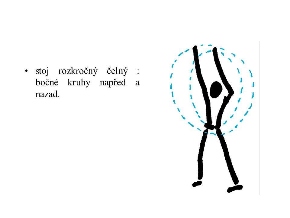 stoj rozkročný čelný : bočné kruhy napřed a nazad.