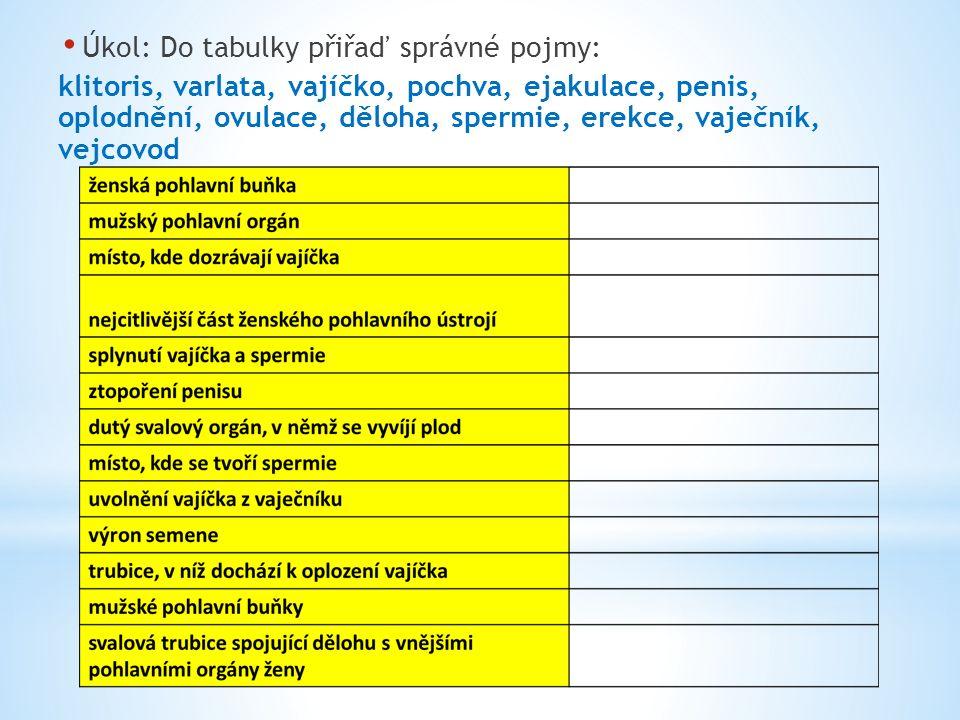 Úkol: Do tabulky přiřaď správné pojmy: klitoris, varlata, vajíčko, pochva, ejakulace, penis, oplodnění, ovulace, děloha, spermie, erekce, vaječník, vejcovod