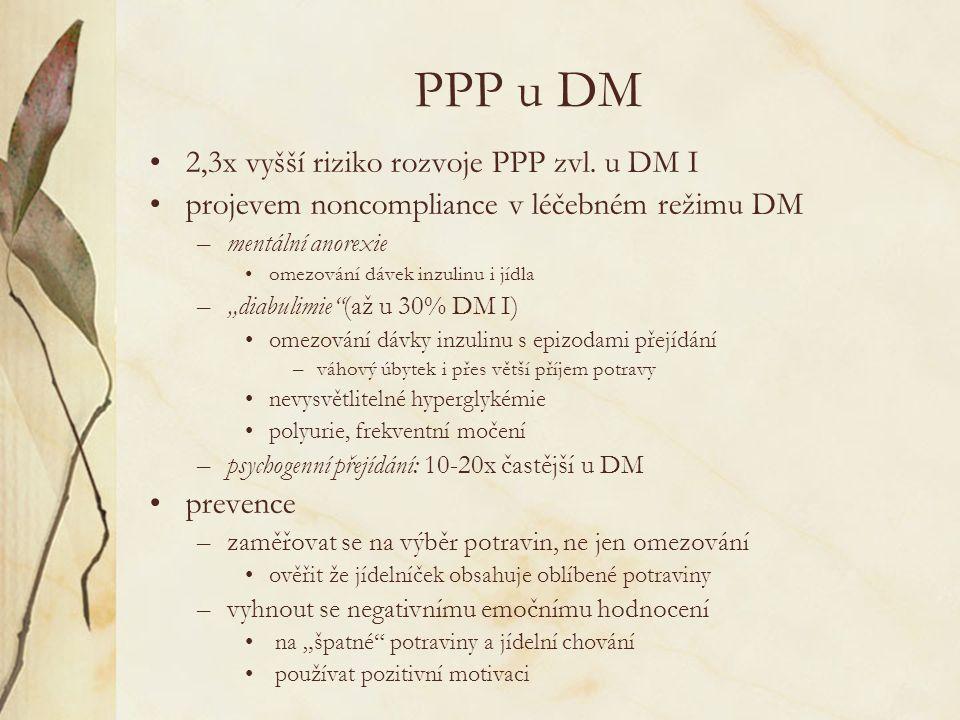 PPP u DM 2,3x vyšší riziko rozvoje PPP zvl.