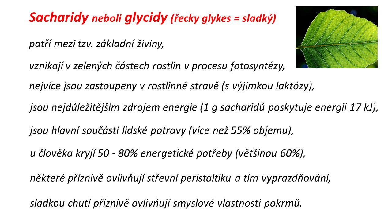 Sacharidy neboli glycidy (řecky glykes = sladký) patří mezi tzv.