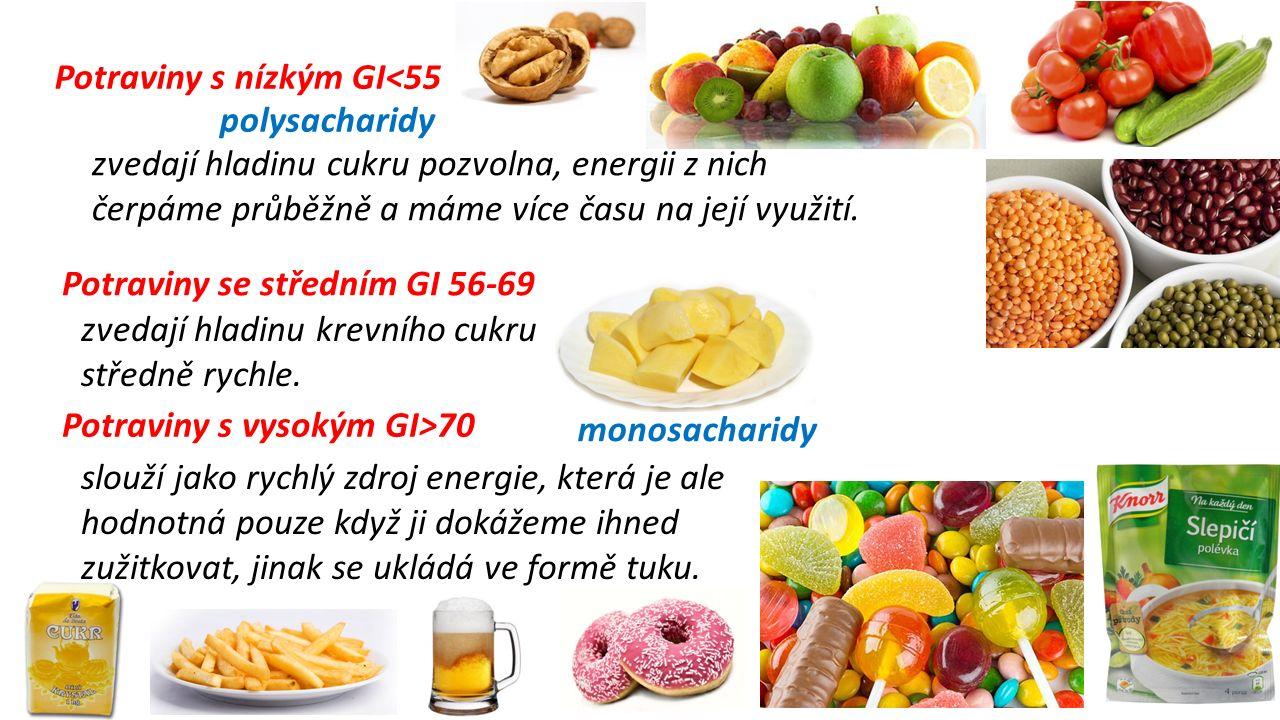 Potraviny s nízkým GI<55 Potraviny se středním GI 56-69 Potraviny s vysokým GI>70 zvedají hladinu cukru pozvolna, energii z nich čerpáme průběžně a máme více času na její využití.