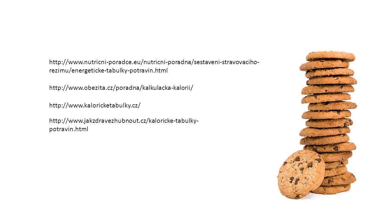 http://www.obezita.cz/poradna/kalkulacka-kalorii/ http://www.kaloricketabulky.cz/ http://www.nutricni-poradce.eu/nutricni-poradna/sestaveni-stravovaciho- rezimu/energeticke-tabulky-potravin.html http://www.jakzdravezhubnout.cz/kaloricke-tabulky- potravin.html