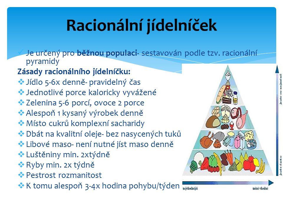 Je určený pro běžnou populaci- sestavován podle tzv. racionální pyramidy Zásady racionálního jídelníčku:  Jídlo 5-6x denně- pravidelný čas  Jednotli