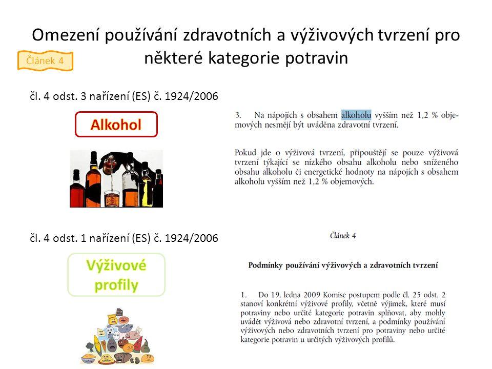 Omezení používání zdravotních a výživových tvrzení pro některé kategorie potravin čl.