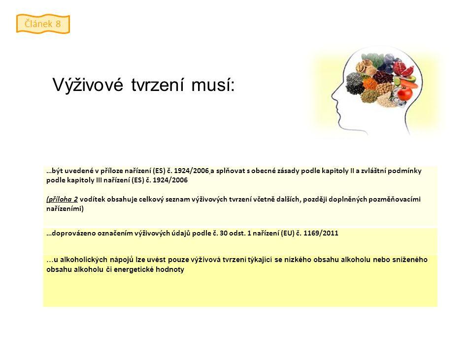 Výživové tvrzení musí: …být uvedené v příloze nařízení (ES) č.