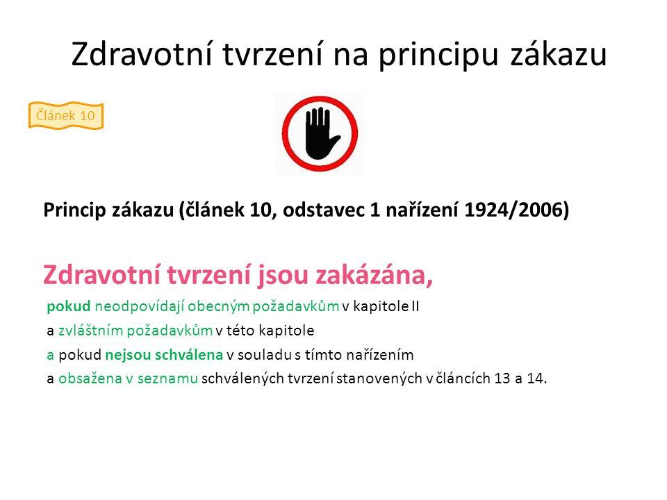 Zdravotní tvrzení na principu zákazu Princip zákazu (článek 10, odstavec 1 nařízení 1924/2006) Zdravotní tvrzení jsou zakázána, pokud neodpovídají obe