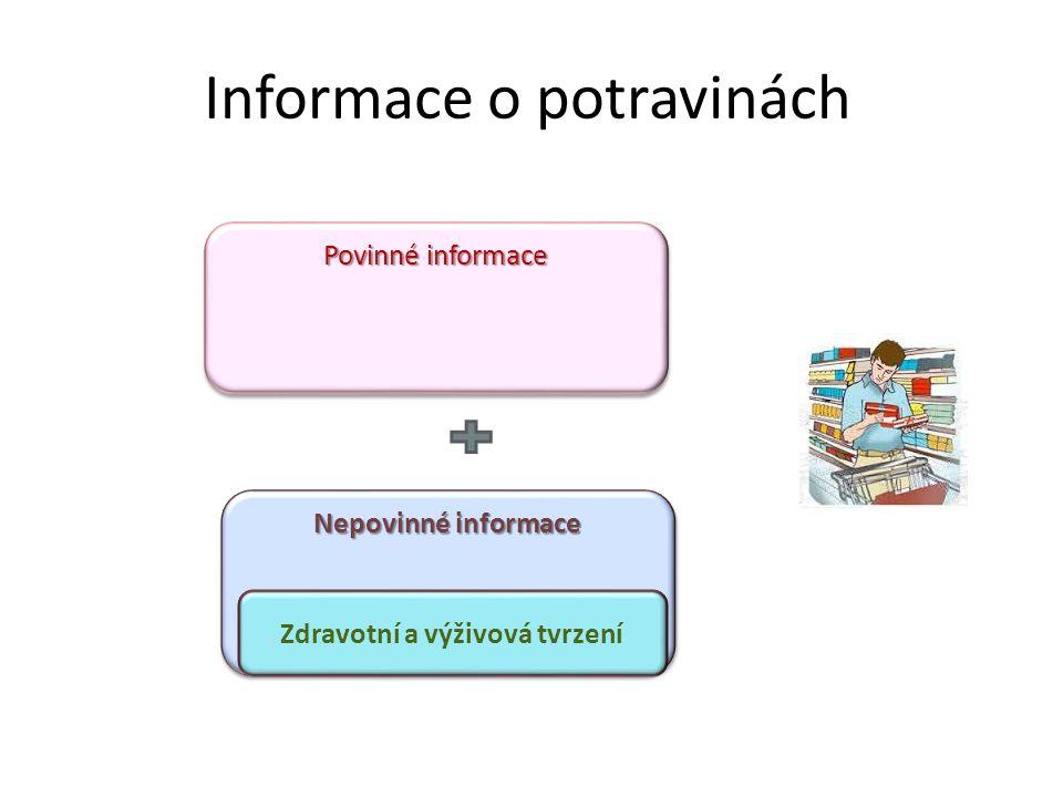 Informace o potravinách Povinné informace Nepovinné informace Zdravotní a výživová tvrzení