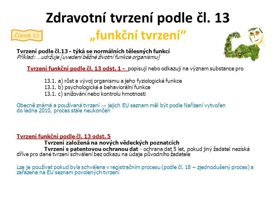 Zdravotní tvrzení podle čl.