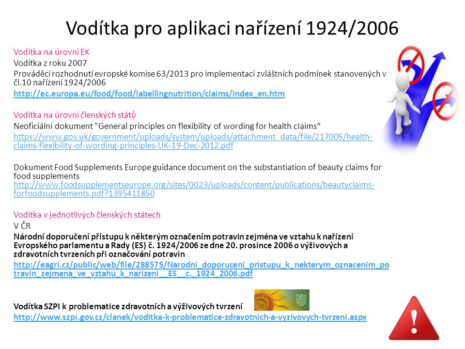 Vodítka pro aplikaci nařízení 1924/2006 Vodítka na úrovni EK Vodítka z roku 2007 Prováděcí rozhodnutí evropské komise 63/2013 pro implementaci zvláštních podmínek stanovených v čl.10 nařízení 1924/2006 http://ec.europa.eu/food/food/labellingnutrition/claims/index_en.htm Vodítka na úrovni členských států Neoficiální dokument General principles on flexibility of wording for health cIaims https://www.gov.uk/government/uploads/system/uploads/attachment_data/file/217005/health- claims-flexibility-of-wording-principles-UK-19-Dec-2012.pdf Dokument Food Supplements Europe guidance document on the substantiation of beauty claims for food supplements http://www.foodsupplementseurope.org/sites/0023/uploads/content/publications/beautyclaims- forfoodsupplements.pdf?1395411850 http://www.foodsupplementseurope.org/sites/0023/uploads/content/publications/beautyclaims- forfoodsupplements.pdf?1395411850 Vodítka v jednotlivých členských státech V ČR Národní doporučení přístupu k některým označením potravin zejména ve vztahu k nařízení Evropského parlamentu a Rady (ES) č.