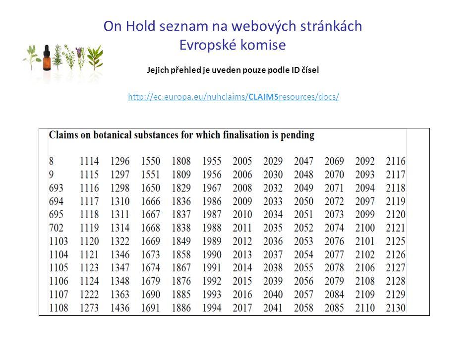 On Hold seznam na webových stránkách Evropské komise Jejich přehled je uveden pouze podle ID čísel http://ec.europa.eu/nuhclaims/CLAIMSresources/docs/