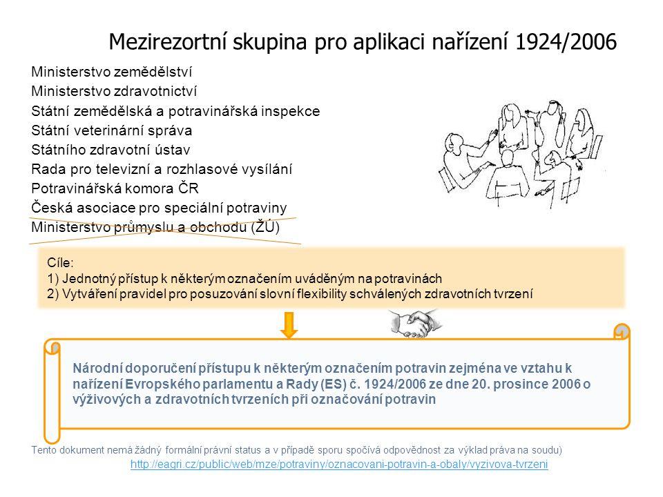 Mezirezortní skupina pro aplikaci nařízení 1924/2006 Ministerstvo zemědělství Ministerstvo zdravotnictví Státní zemědělská a potravinářská inspekce Státní veterinární správa Státního zdravotní ústav Rada pro televizní a rozhlasové vysílání Potravinářská komora ČR Česká asociace pro speciální potraviny Ministerstvo průmyslu a obchodu (ŽÚ) Tento dokument nemá žádný formální právní status a v případě sporu spočívá odpovědnost za výklad práva na soudu) http://eagri.cz/public/web/mze/potraviny/oznacovani-potravin-a-obaly/vyzivova-tvrzeni Cíle: 1) Jednotný přístup k některým označením uváděným na potravinách 2) Vytváření pravidel pro posuzování slovní flexibility schválených zdravotních tvrzení Národní doporučení přístupu k některým označením potravin zejména ve vztahu k nařízení Evropského parlamentu a Rady (ES) č.