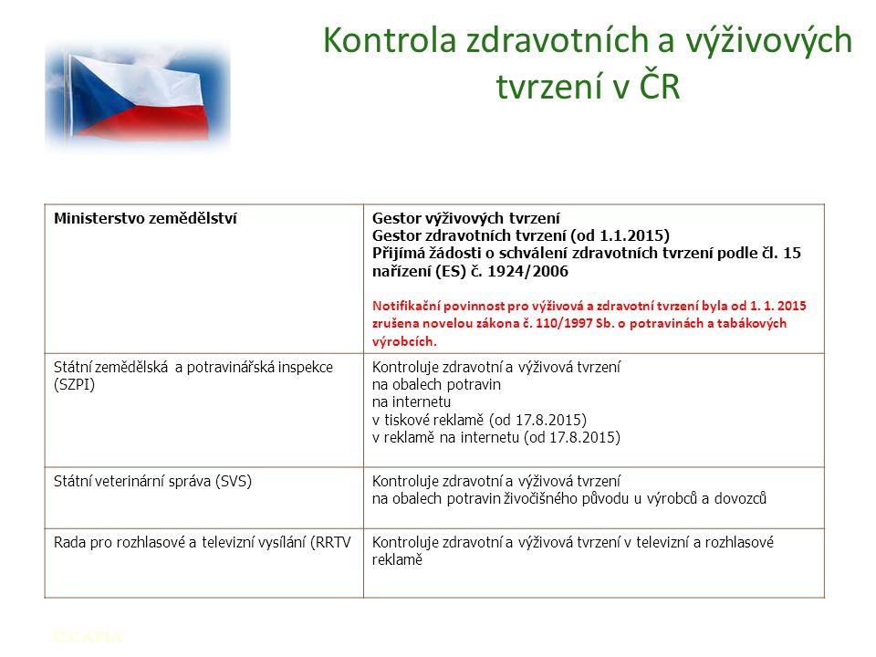 Kontrola zdravotních a výživových tvrzení v ČR © CAFIA Ministerstvo zemědělstvíGestor výživových tvrzení Gestor zdravotních tvrzení (od 1.1.2015) Přijímá žádosti o schválení zdravotních tvrzení podle čl.