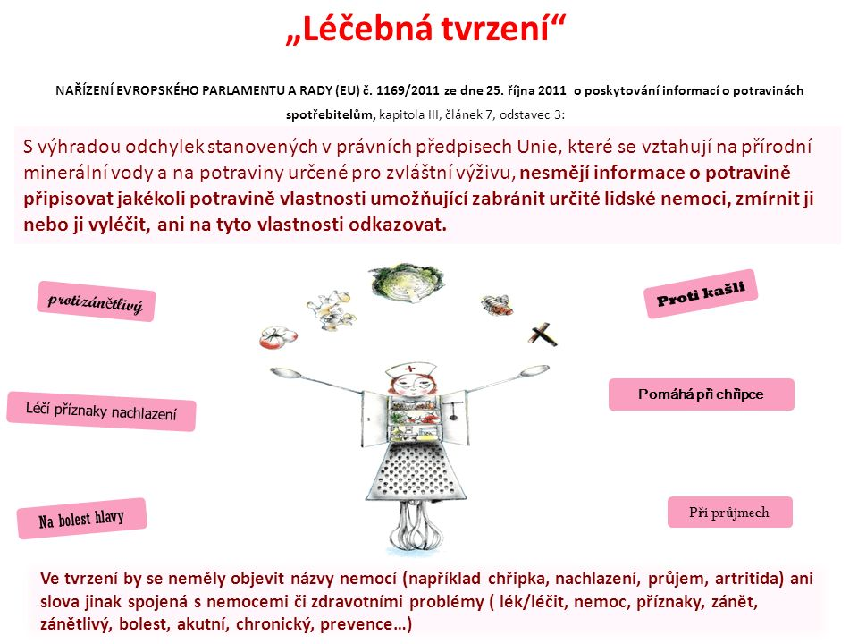 """""""Léčebná tvrzení"""" NAŘÍZENÍ EVROPSKÉHO PARLAMENTU A RADY (EU) č. 1169/2011 ze dne 25. října 2011 o poskytování informací o potravinách spotřebitelům, k"""