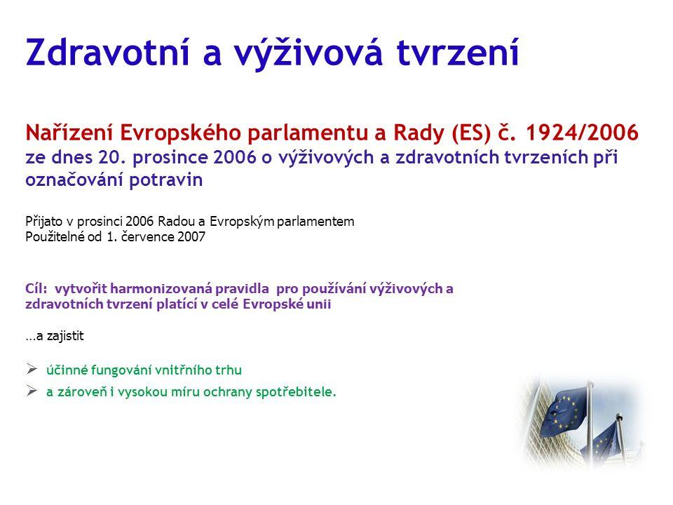 Zdravotní a výživová tvrzení Nařízení Evropského parlamentu a Rady (ES) č. 1924/2006 ze dnes 20. prosince 2006 o výživových a zdravotních tvrzeních př