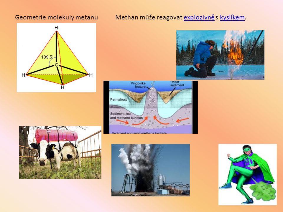 Geometrie molekuly metanuMethan může reagovat explozivně s kyslíkem.explozivněkyslíkem