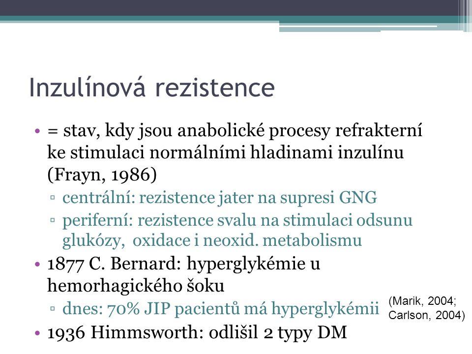 Inzulínová rezistence = stav, kdy jsou anabolické procesy refrakterní ke stimulaci normálními hladinami inzulínu (Frayn, 1986) ▫centrální: rezistence jater na supresi GNG ▫periferní: rezistence svalu na stimulaci odsunu glukózy, oxidace i neoxid.