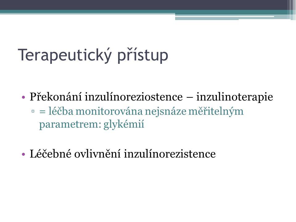 Terapeutický přístup Překonání inzulínoreziostence – inzulinoterapie ▫= léčba monitorována nejsnáze měřitelným parametrem: glykémií Léčebné ovlivnění inzulínorezistence