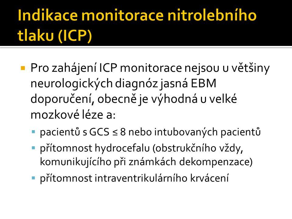  Pro zahájení ICP monitorace nejsou u většiny neurologických diagnóz jasná EBM doporučení, obecně je výhodná u velké mozkové léze a:  pacientů s GCS ≤ 8 nebo intubovaných pacientů  přítomnost hydrocefalu (obstrukčního vždy, komunikujícího při známkách dekompenzace)  přítomnost intraventrikulárního krvácení