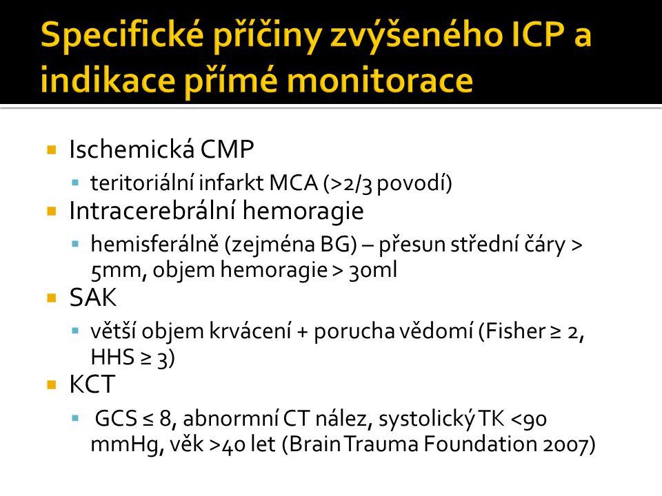  Ischemická CMP  teritoriální infarkt MCA (>2/3 povodí)  Intracerebrální hemoragie  hemisferálně (zejména BG) – přesun střední čáry > 5mm, objem hemoragie > 30ml  SAK  větší objem krvácení + porucha vědomí (Fisher ≥ 2, HHS ≥ 3)  KCT  GCS ≤ 8, abnormní CT nález, systolický TK 40 let (Brain Trauma Foundation 2007)