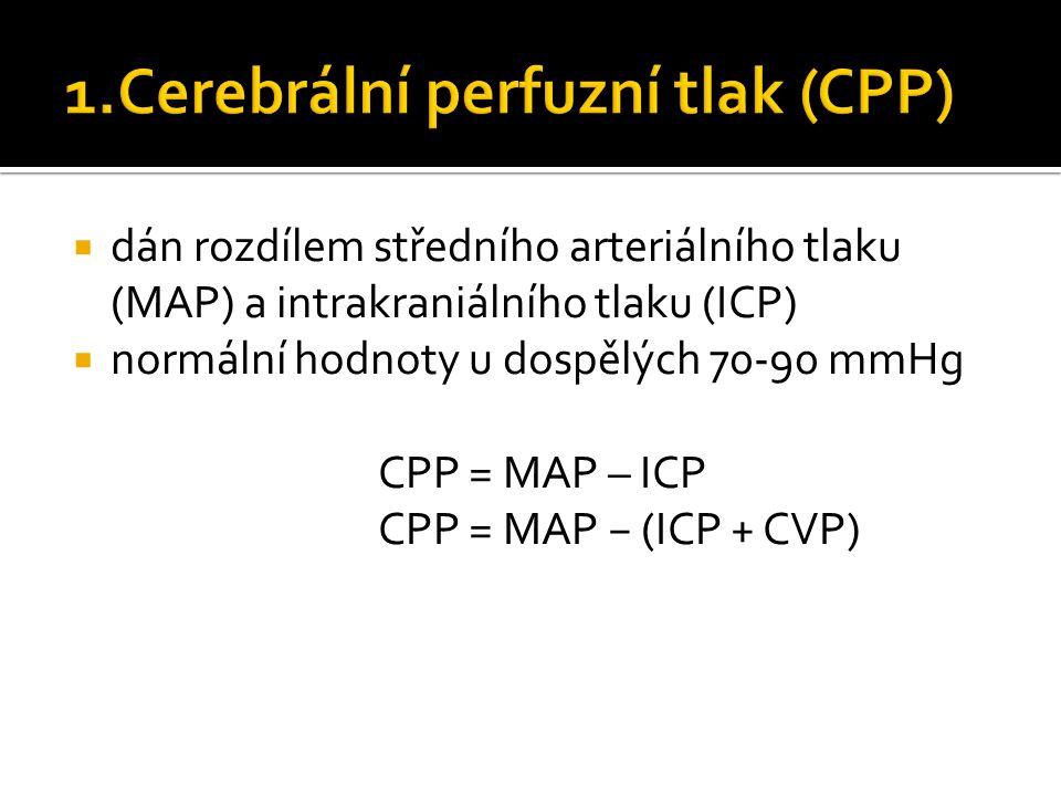  dán rozdílem středního arteriálního tlaku (MAP) a intrakraniálního tlaku (ICP)  normální hodnoty u dospělých 70-90 mmHg CPP = MAP – ICP CPP = MAP − (ICP + CVP)