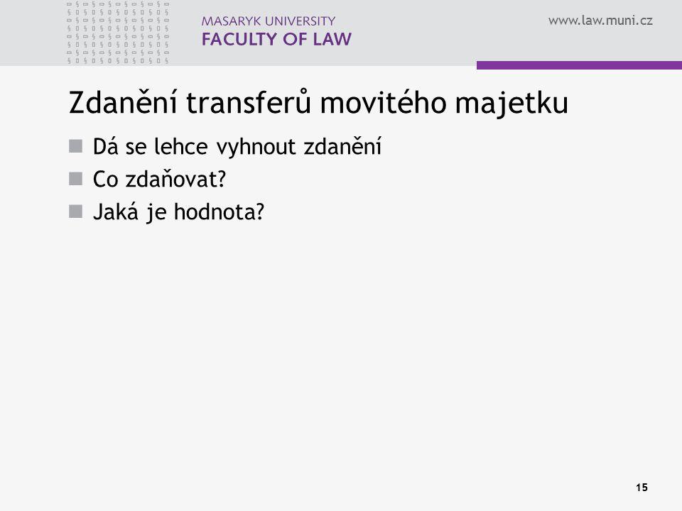 www.law.muni.cz Zdanění transferů movitého majetku Dá se lehce vyhnout zdanění Co zdaňovat.