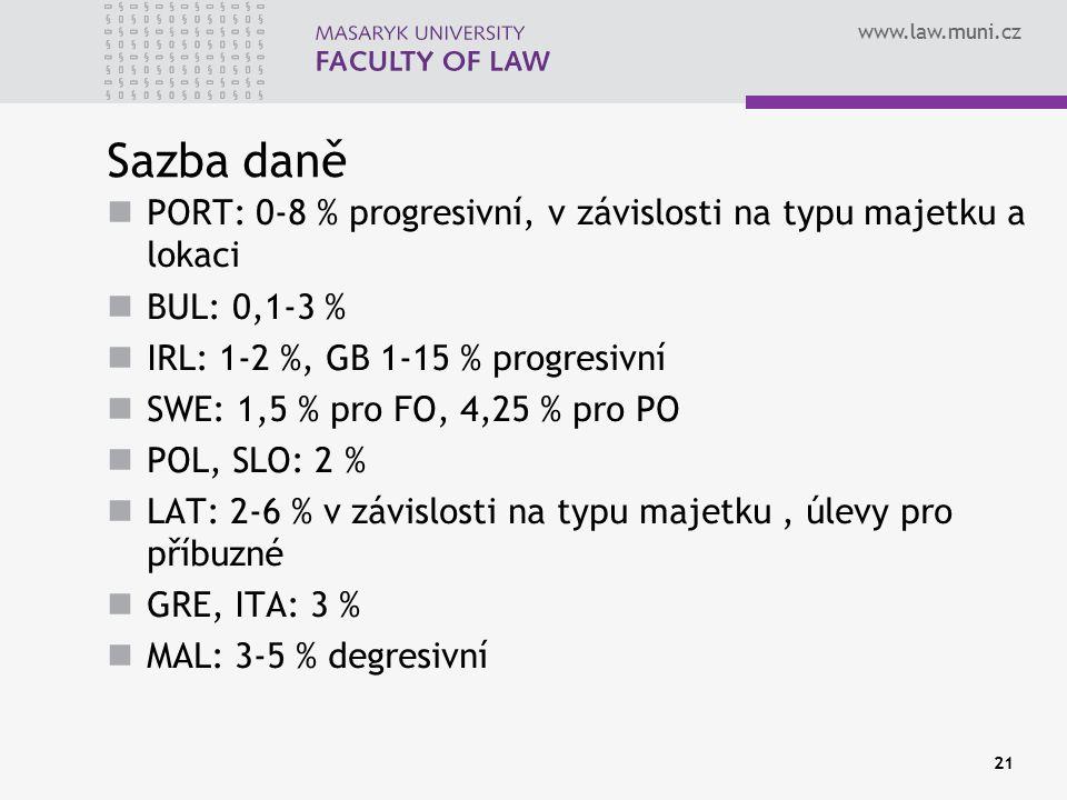 www.law.muni.cz Sazba daně PORT: 0-8 % progresivní, v závislosti na typu majetku a lokaci BUL: 0,1-3 % IRL: 1-2 %, GB 1-15 % progresivní SWE: 1,5 % pro FO, 4,25 % pro PO POL, SLO: 2 % LAT: 2-6 % v závislosti na typu majetku, úlevy pro příbuzné GRE, ITA: 3 % MAL: 3-5 % degresivní 21