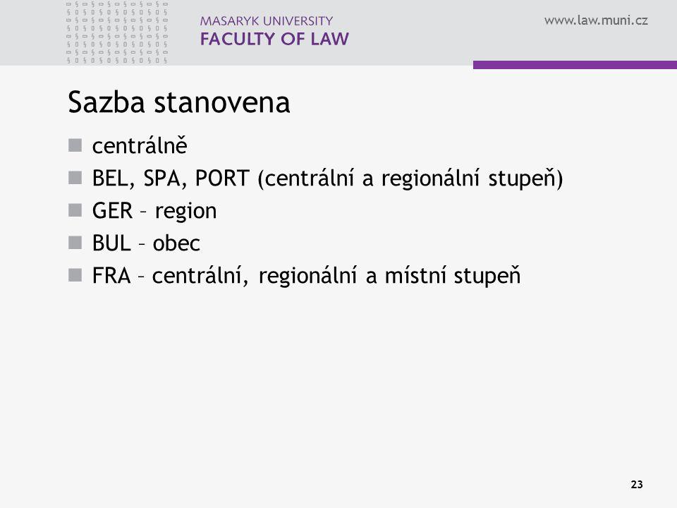 www.law.muni.cz Sazba stanovena centrálně BEL, SPA, PORT (centrální a regionální stupeň) GER – region BUL – obec FRA – centrální, regionální a místní stupeň 23