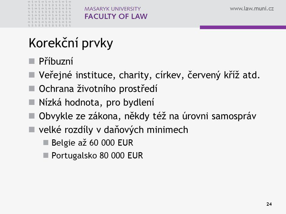 www.law.muni.cz Korekční prvky Příbuzní Veřejné instituce, charity, církev, červený kříž atd.