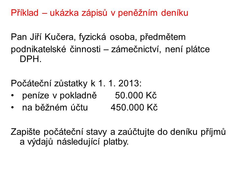 Příklad – ukázka zápisů v peněžním deníku Pan Jiří Kučera, fyzická osoba, předmětem podnikatelské činnosti – zámečnictví, není plátce DPH.