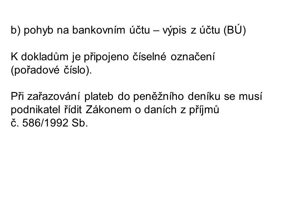 Bankovní výpisy: BÚ/1 Zaplacena faktura za nákup zboží 79.000 Kč Splátka úvěru 22.000 Kč Úroky z úvěru 10.000 Kč Platba za pronájem prodejních a skladovacích prostor 28.000 Kč Zaplacena faktura za nákup kopírovacího stroje 54.000 Kč BÚ/2 Vyúčtování odvodu peněz 60.000 Kč Přijatá úhrada od odběratele za prodej zboží 75.000 Kč Poplatky bance 800 Kč Připsané úroky 90 Kč