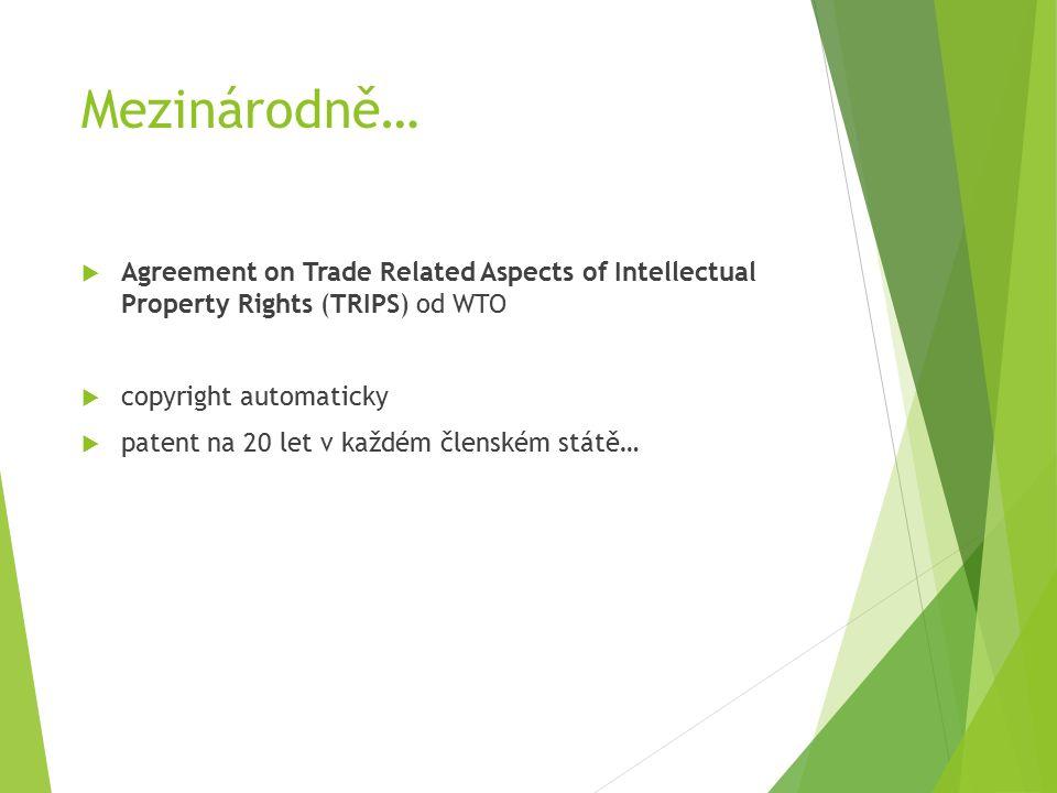 Mezinárodně…  Agreement on Trade Related Aspects of Intellectual Property Rights (TRIPS) od WTO  copyright automaticky  patent na 20 let v každém členském státě…