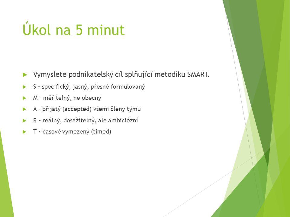 Úkol na 5 minut  Vymyslete podnikatelský cíl splňující metodiku SMART.