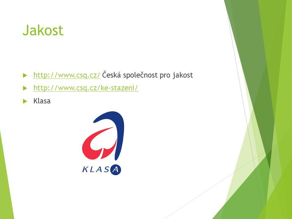 Jakost  http://www.csq.cz/ Česká společnost pro jakost http://www.csq.cz/  http://www.csq.cz/ke-stazeni/ http://www.csq.cz/ke-stazeni/  Klasa