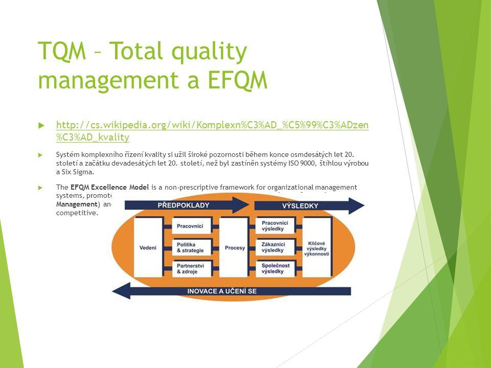 TQM – Total quality management a EFQM  http://cs.wikipedia.org/wiki/Komplexn%C3%AD_%C5%99%C3%ADzen %C3%AD_kvality http://cs.wikipedia.org/wiki/Komplexn%C3%AD_%C5%99%C3%ADzen %C3%AD_kvality  Systém komplexního řízení kvality si užil široké pozornosti během konce osmdesátých let 20.