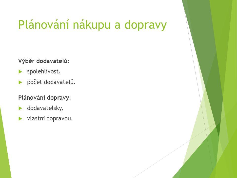 Plánování nákupu a dopravy Výběr dodavatelů:  spolehlivost,  počet dodavatelů.