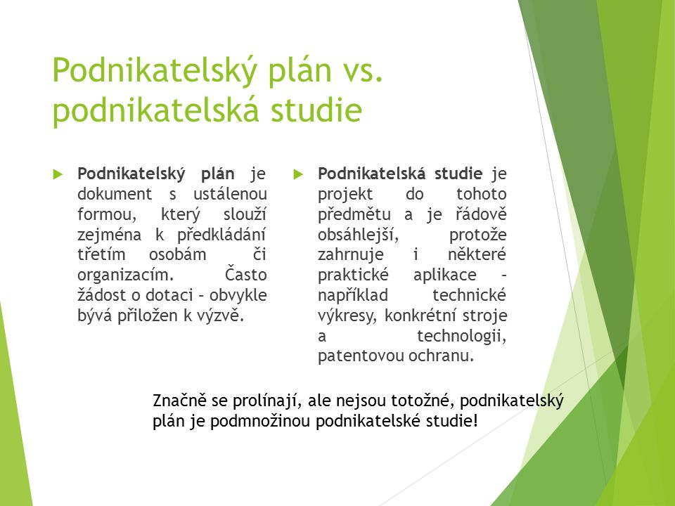 Podnikatelský plán vs.