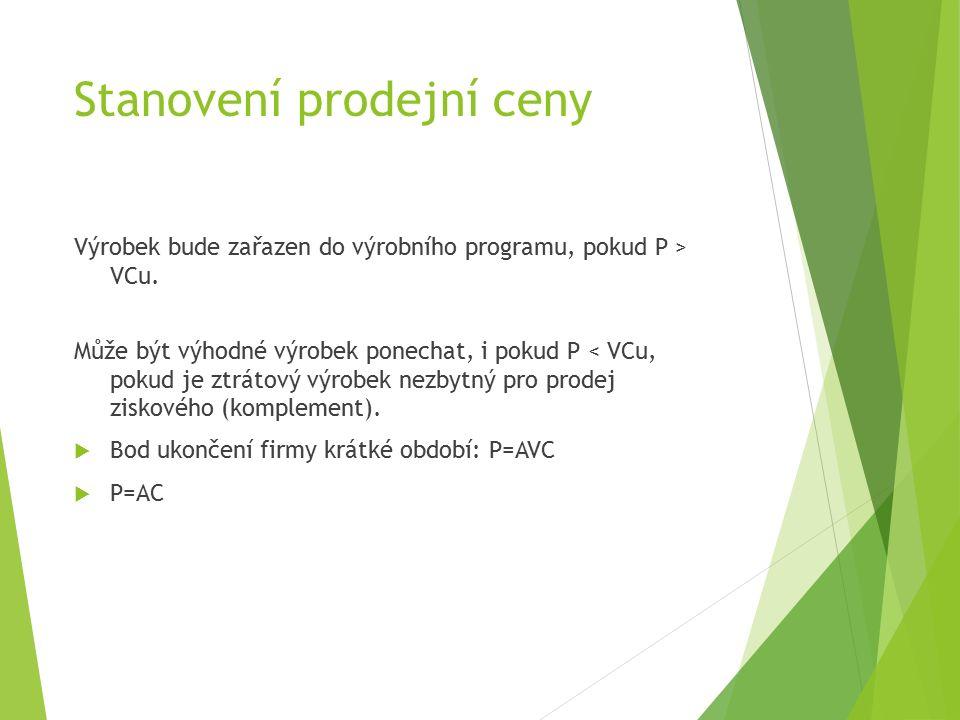 Stanovení prodejní ceny Výrobek bude zařazen do výrobního programu, pokud P > VCu.
