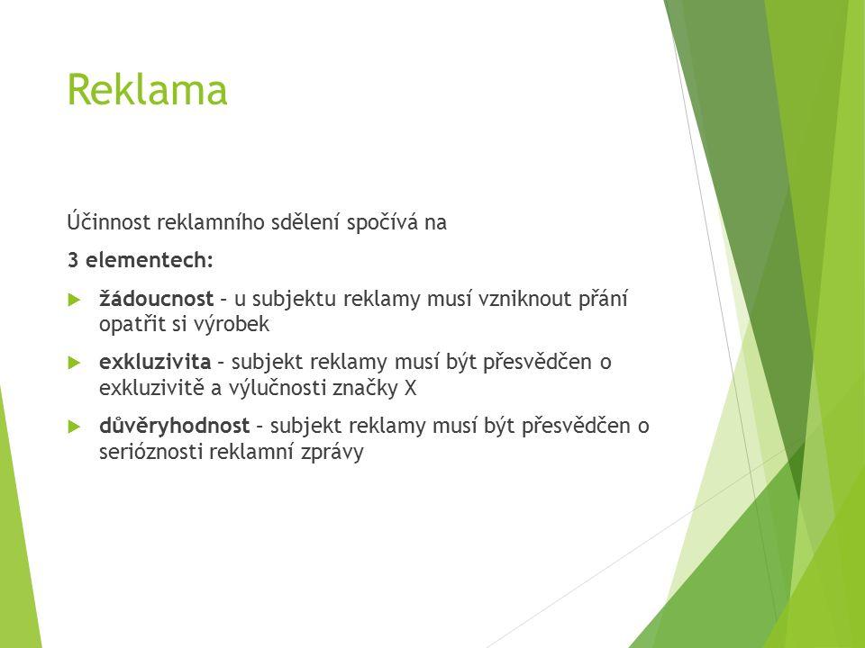 Reklama Účinnost reklamního sdělení spočívá na 3 elementech:  žádoucnost – u subjektu reklamy musí vzniknout přání opatřit si výrobek  exkluzivita – subjekt reklamy musí být přesvědčen o exkluzivitě a výlučnosti značky X  důvěryhodnost – subjekt reklamy musí být přesvědčen o serióznosti reklamní zprávy