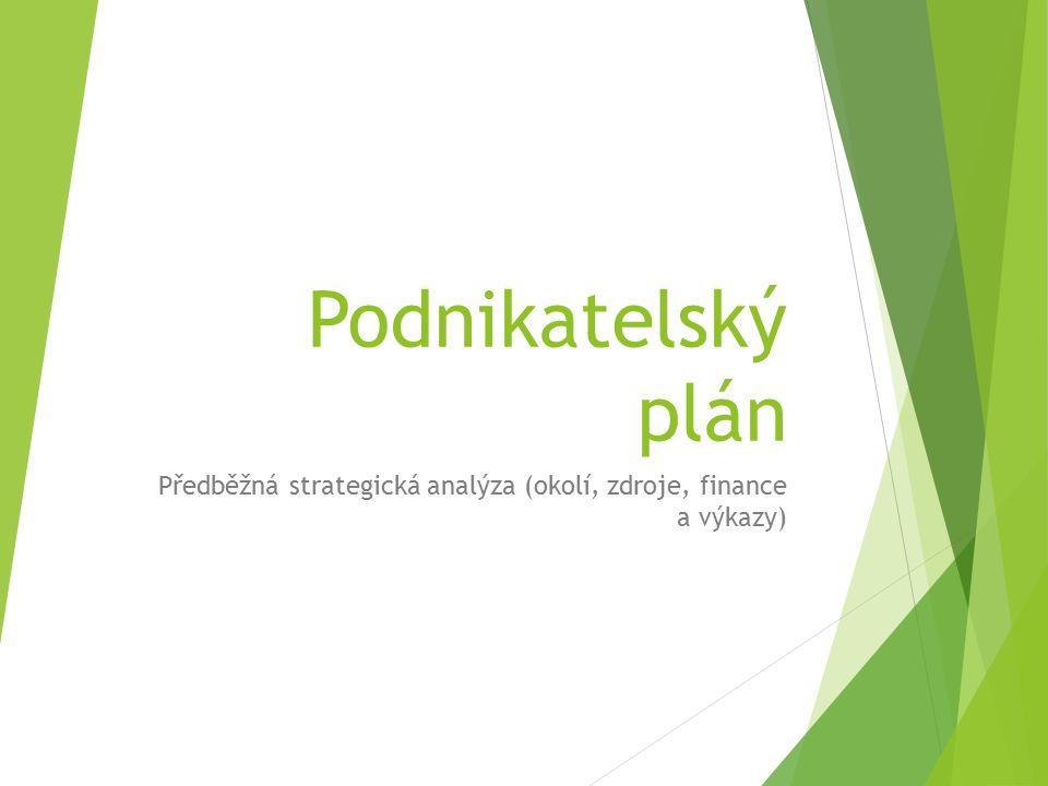 Podnikatelský plán Předběžná strategická analýza (okolí, zdroje, finance a výkazy)