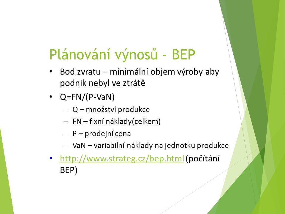 Plánování výnosů - BEP Bod zvratu – minimální objem výroby aby podnik nebyl ve ztrátě Q=FN/(P-VaN) – Q – množství produkce – FN – fixní náklady(celkem) – P – prodejní cena – VaN – variabilní náklady na jednotku produkce http://www.strateg.cz/bep.html (počítání BEP) http://www.strateg.cz/bep.html