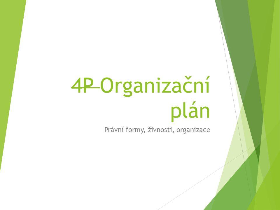 4P Organizační plán Právní formy, živnosti, organizace