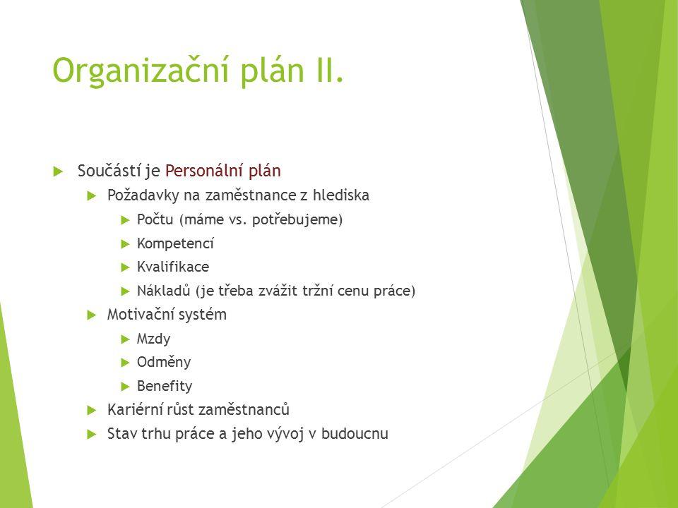 Organizační plán II.