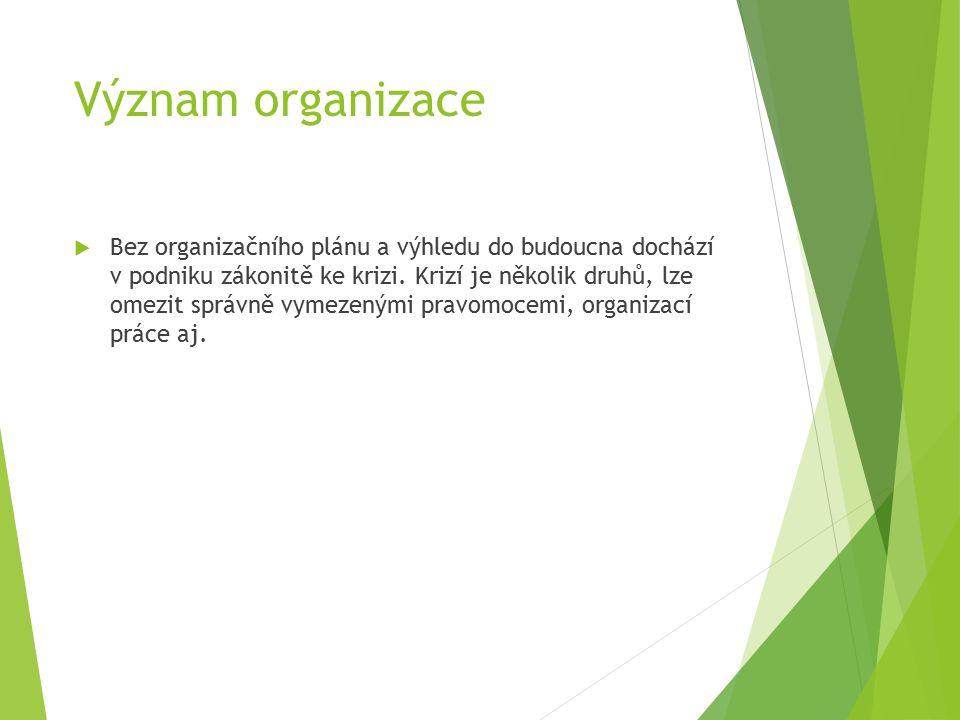 Význam organizace  Bez organizačního plánu a výhledu do budoucna dochází v podniku zákonitě ke krizi.