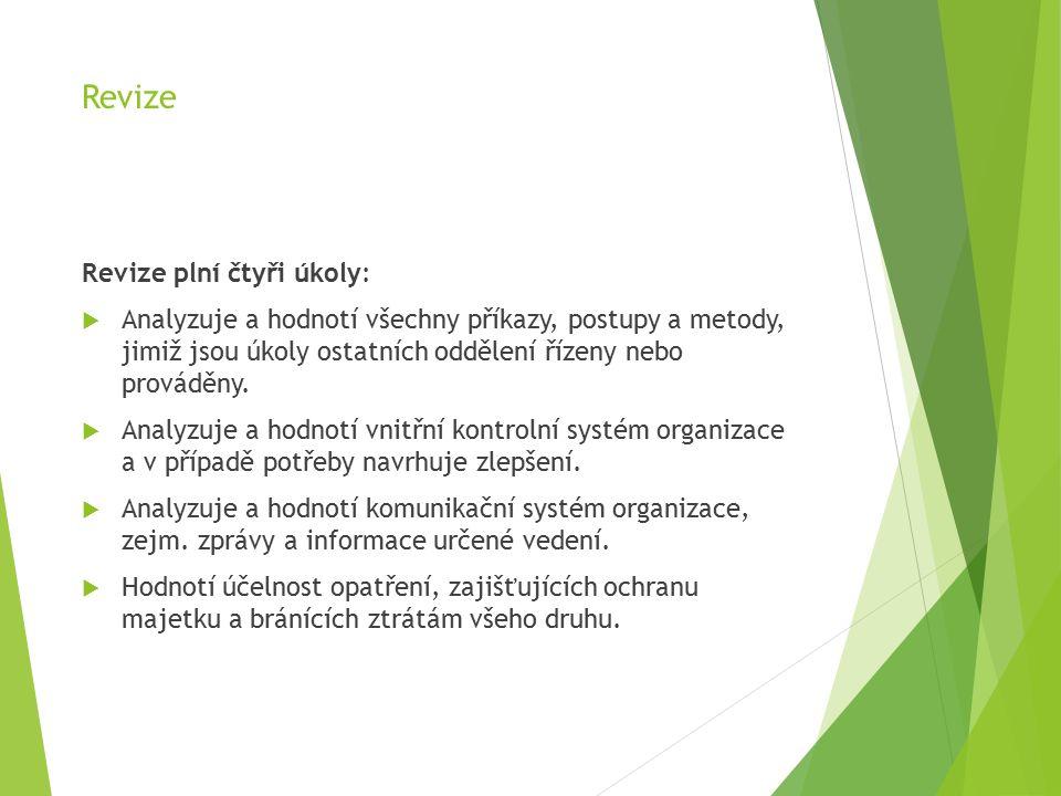 Revize Revize plní čtyři úkoly:  Analyzuje a hodnotí všechny příkazy, postupy a metody, jimiž jsou úkoly ostatních oddělení řízeny nebo prováděny.
