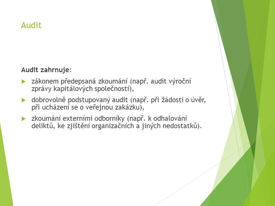 Audit Audit zahrnuje:  zákonem předepsaná zkoumání (např.