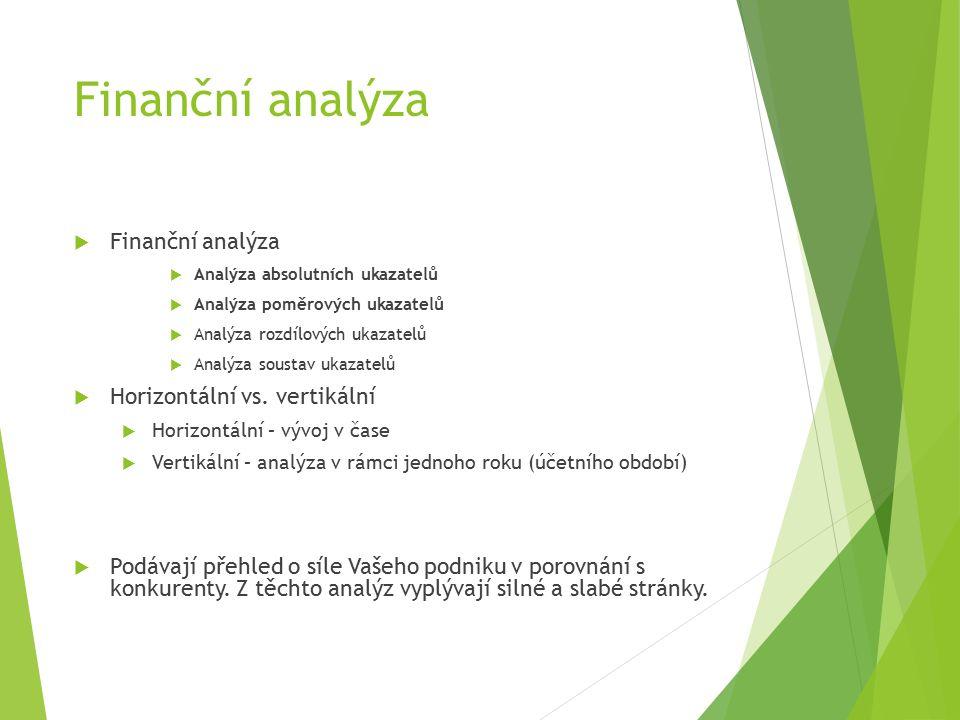 Finanční analýza  Finanční analýza  Analýza absolutních ukazatelů  Analýza poměrových ukazatelů  Analýza rozdílových ukazatelů  Analýza soustav ukazatelů  Horizontální vs.