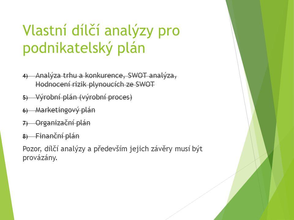 Vlastní dílčí analýzy pro podnikatelský plán 4) Analýza trhu a konkurence, SWOT analýza, Hodnocení rizik plynoucích ze SWOT 5) Výrobní plán (výrobní proces) 6) Marketingový plán 7) Organizační plán 8) Finanční plán Pozor, dílčí analýzy a především jejich závěry musí být provázány.