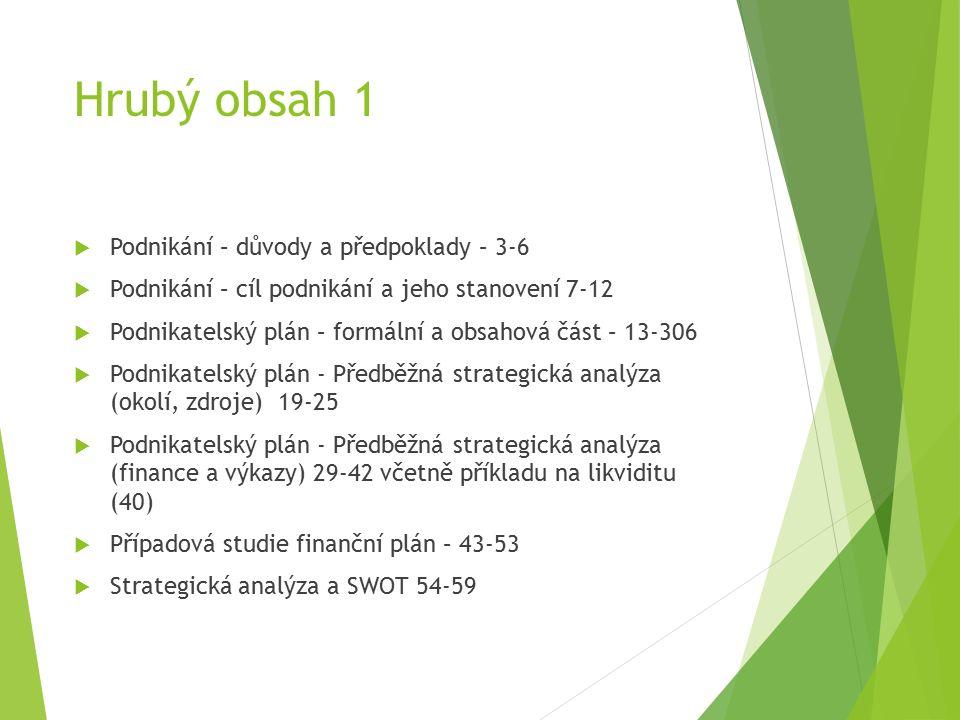 Hrubý obsah 1  Podnikání – důvody a předpoklady – 3-6  Podnikání – cíl podnikání a jeho stanovení 7-12  Podnikatelský plán – formální a obsahová část – 13-306  Podnikatelský plán - Předběžná strategická analýza (okolí, zdroje) 19-25  Podnikatelský plán - Předběžná strategická analýza (finance a výkazy) 29-42 včetně příkladu na likviditu (40)  Případová studie finanční plán – 43-53  Strategická analýza a SWOT 54-59