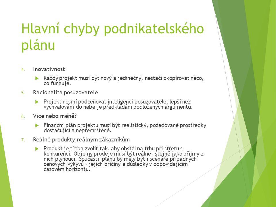 Hlavní chyby podnikatelského plánu 4.